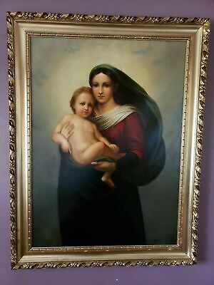ANTIQUE LARGE 18th/19th C Sistine Madonna Raphael oil Gilded Frame READY TO HANG