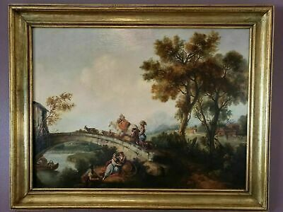 ANTIQUE 18th/19th century Landscape water animals trees Gilded READY TO HANG