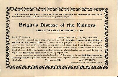 Antique 1896, Quack Medicine, Two Sided, Bright's Disease of the Kidneys
