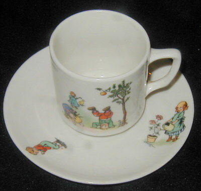Old Kpm Germany Child's Porcelain Cup & Saucer Set, Playing, Animals