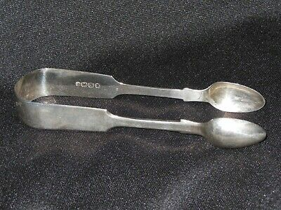 Antique British English Sterling Silver Sugar Tongs Spoons Monogrammed WMC