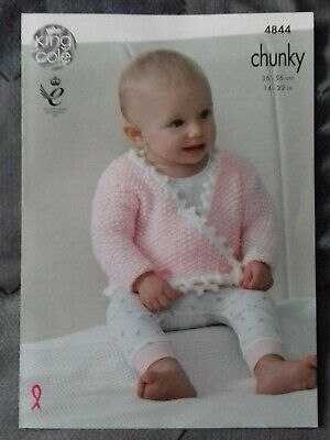 Baby KNITTING PATTERN Coat Wrapover Jacket Cardigan Chunky King Cole 4844