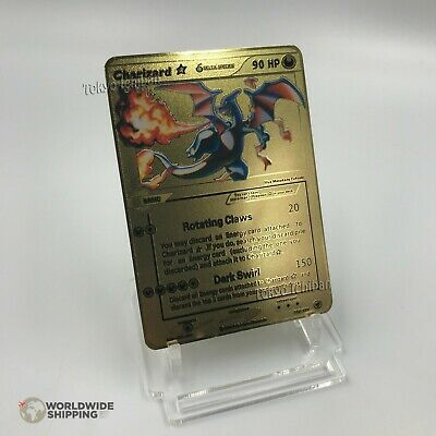 Carte Pokemon Gold Mega Dracaufeu / Charizard Metal Card Fan Made / GX / EX