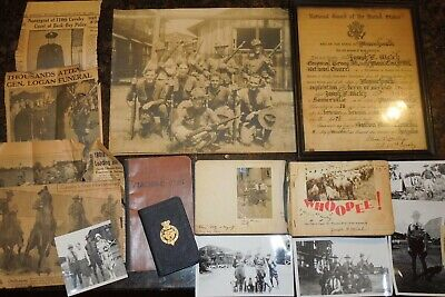 1920's - WWII US Army 110th Cavalry Regt. Photo Album Discharge Paper Group Lot