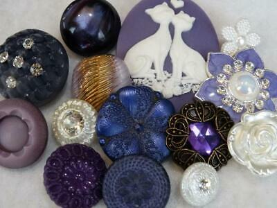 AWESOME PURPLE VINTAGE & NEW BUTTONS Cameo Cats Metal Flower Rhinestone Glass +