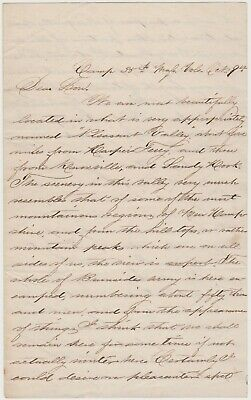 1862 CIVIL WAR SOLDIER LETTER - PLEASANT VALLEY MD - 35th MASS - LT. WM WASHBURN
