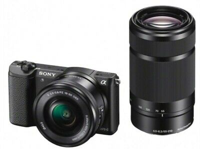 NEW Sony Alpha a5100 16-50mm and 55-210mm Lens Mirrorless Digital Camera 24.3MP