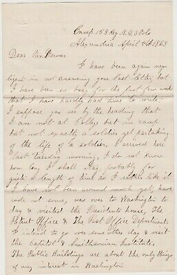 1863 CIVIL WAR LETTER - ALEXANDRIA VA CAMP 153rd NY INF - VISITED WHITE HOUSE