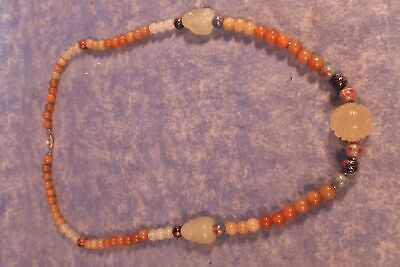 """Vintage Chinese Carved Jade Buddha & Cloisonne Necklace 25"""""""