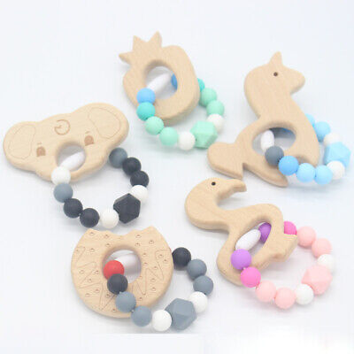 80x70x10mm Chewable Teething Toy Baby Silicone IceCream Teether w Cord-Chocolate