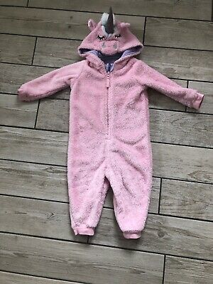 M&S Kids Girls Unicorn Fleece all in one Onesie onesy (not gerber) 1-2 Years