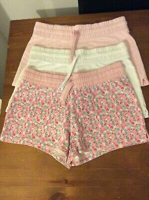 NEXT GIRLS 3 x WHITE PINK FLORAL COTTON JERSEY SHORTS AGE 10 - 11 YEARS SUMMER