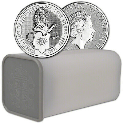 2020 Great Britain Silver Queens Beasts White Lion £5 2 oz 1 Roll 10 Coins Tube
