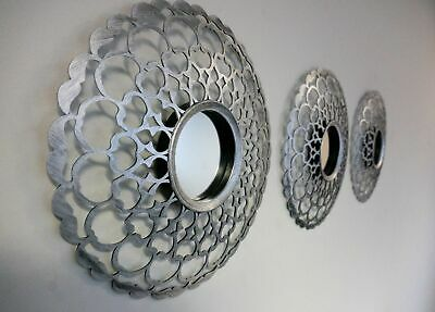3x Antique Silver Mirrors Round Wall Mounted Home Ornament Wall Art Deco Mirror