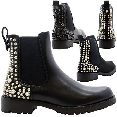 Ladies Chelsea Ankle Boots Women Chunky Block Heels Studded Goth Punk Shoes Size