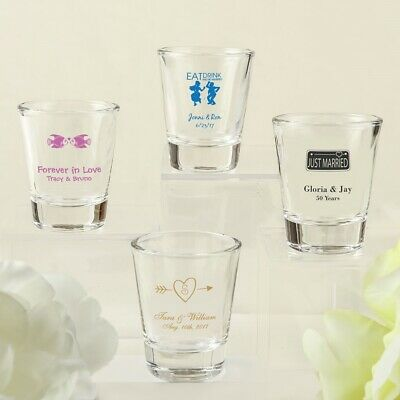 60 Personalized Shot Glasses & Gift Boxes Wedding Shower Party Gift Favors
