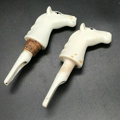 Vintage 2 Pottery White Horses Horse Head  Bottle Pourer Cork Cap Keeper Stopper