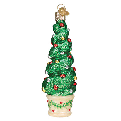 Old World Christmas Holiday Topiary Glass Tree Ornament 48040 FREE BOX New