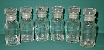 6 Vintage RIBBED GLASS BOTTLES + STOPPERS Apothecary Pharmacy Kitchen SPICE