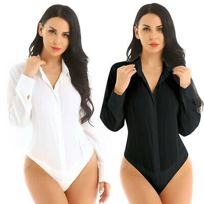 Plus S-3XL Sexy Women One-Piece Long Sleeve Bodysuit Jumpsuit Leotard Top Shirts