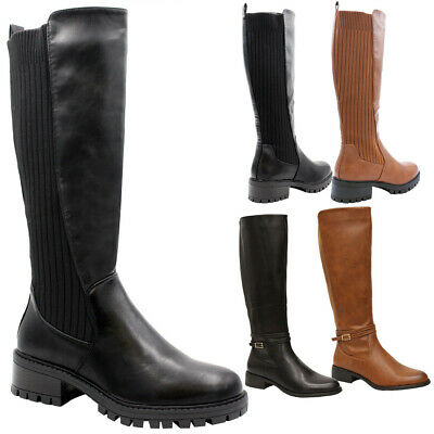 Ladies Faux Leather Knee High Boots Women Flat Heels Calf Long Riding Shoes Size