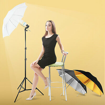 Three Umbrella Reflector Light Photography Stand Kit for Photo Studio