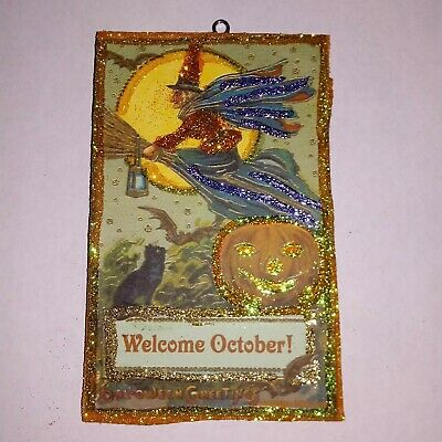 Vtg Image Witch Moon Welcome October ~ Halloween Glitter Wood Ornament