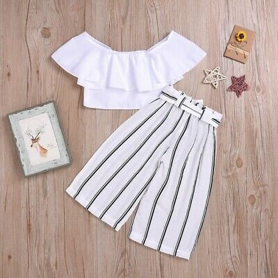 Cute Baby Girls Summer Off Shoulder T-shirt Blouse Tops Striped Pants Trousers