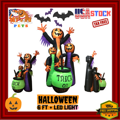 Halloween Inflatable Trick Or Treat Pumpkin Witches Deco / Christmas LED Lights