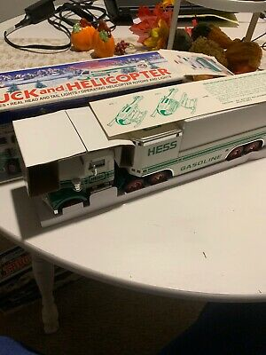 1995 Hess Toy Truck and Helicopter Lights Work With Broken Helicopter