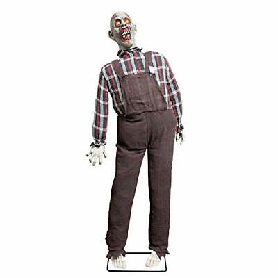 Life Size Stand Up Speaking Farmer Zombie Animated Rocking Moving Torso Prop