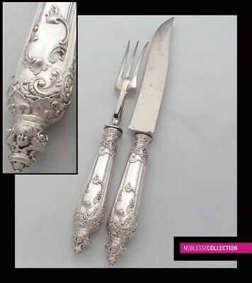 Antique 1890 German Solid Silver & Silver Plate Cutting Set Meat Serving Pieces