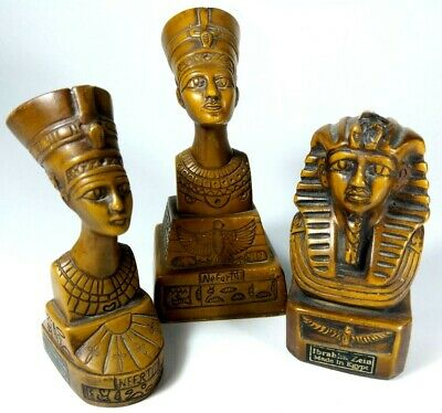 Old Ancient Egyptian Queen Nefertiti Wooden Statue Figurine Hand engraved 3Pc