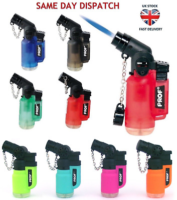 PROF ANGLED JET FLAME WINDPROOF LIGHTER Refillable Tank Neck Pipe Child Safe