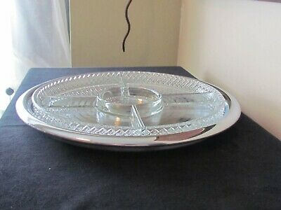 "Signed Chase Brass Art Deco Chrome 12"" Ring Tray W/ Rare Glass Divided Insert"
