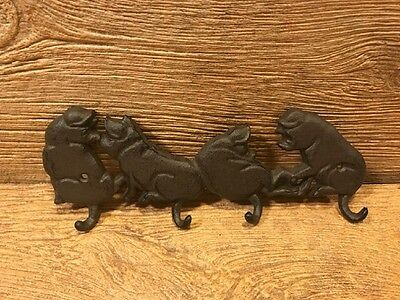 "Cast Iron Four Pig Wall Hook 11"" wide Home Barbeque Decor 0184-0455"