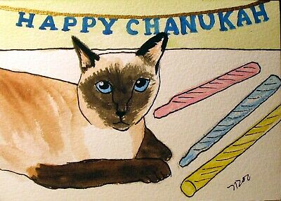 ACEO Siamese Cat print from Original Watercolor painting Happy Chanukah