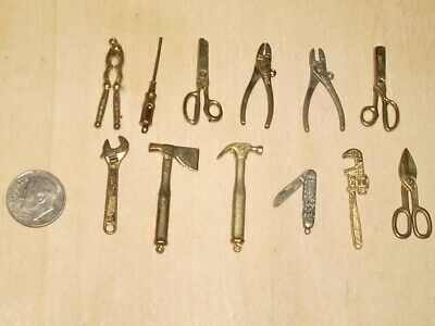 Intercast Mini Tools Toys Charms Cast Iron Brass Antique Lot of 12 Pocket Knife