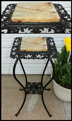 Antique Victorian Fleur de Lis Reticulated Marble Top Plant Stand w Bottom Shelf