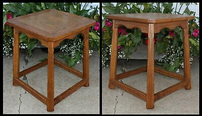Solid Oak Wood Pegged Top Lamp Table Western Ranch Cabin Mid Century Modernism