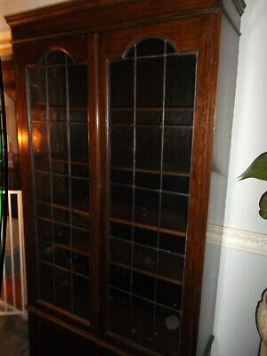 Victorian Leaded Light Glass Fronted Bookcase With Cupboard At Base