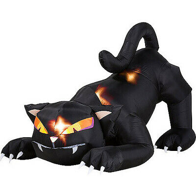 5 Ft Animated Black Cat W/ Turning Head Airblown Halloween Inflatable Decoration