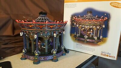 Dept 56 Snow Village Halloween 2002 GHOSTLY CAROUSEL Lights Sound Motion 55317
