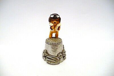 Thimble Pewter Stephen Frost Handpainted Topper Of Teddy Bear Pilot