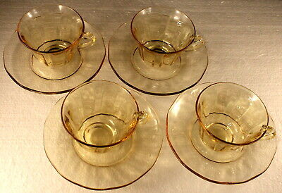 Fostoria FAIRFAX  Topaz Yellow * Set of 4 * Cups and Saucers EXCELLENT
