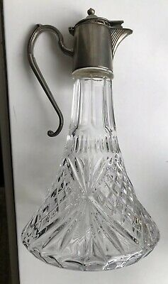 SHIP'S CLARET JUG / DECANTER Pressed Glass with Silverplate Top