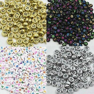 100PC Spacer Acrylic Beads Cube Alphabet Letter Bracelet Jewelry Making DIY Lots