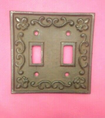 Rustic Cast Iron French Fleur De Lis Double Switch Light Outlet Plate Cover