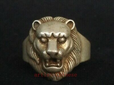 Collection Old Chinese Tibet Silver Hand-made Lion Head Statue Ring Great Gift