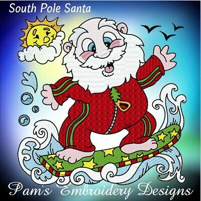 SOUTH POLE SANTA 10 MACHINE EMBROIDERY DESIGNS CD or USB